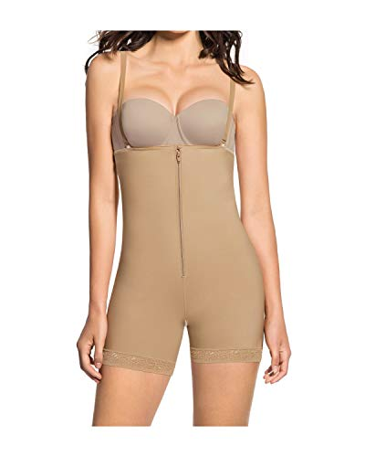 Leonisa Womens Strapless Compression Bodysuit Slimming Shaper Short With Booty Lifter,Beige,Large