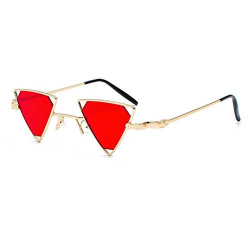 de Marco marco metal UV400 Oro Retro Rojo Hippy Triangle Classic pequeño Sunglasses Punk 8Uxqw4