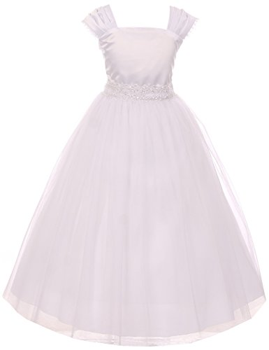 Flower Girl Cap Sleeved Beaded White Dress First Holy Communion Size 2-16 (16, White) for $<!--$50.00-->