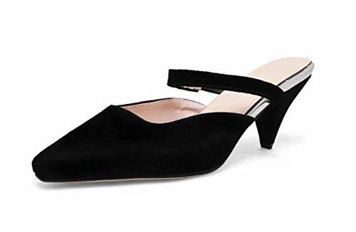 Slippers Mujeres New Fashion Muñecas Cuero De Cone Scrub Las Heel Black Moteadas Sandalias Spring 2018 De Summer w11Tq70tx