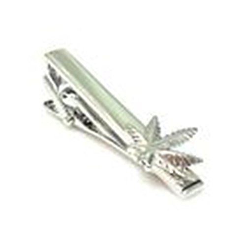 [Mondaily - Weed Plant Cannabis Green Mary Jane Marijuana Tie Clip Silver Wedding Bar Clasp] (Weed Bag Costume)