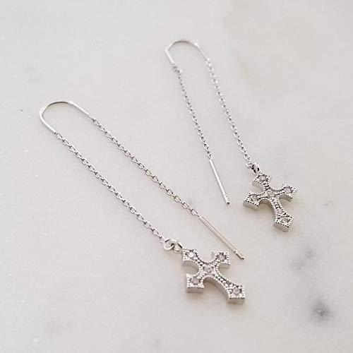 Cross Threader (Silver Threader Earrings, Silver Earrings, Cross Earrings, Dainty Earrings, Drop Earrings, Cubic Cross, Anniversary Gift, YARIEL EARRINGS)