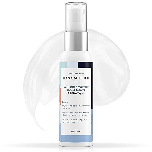 Hyaluronic Acid Moisturizer Serum For Skin - Best Anti Aging, Hydrating, and Paraben Free By Alana Mitchell (2oz) | Repairs Sensitive, Dry & Combination Skin | 100% Natural Ingredients & Antioxidants