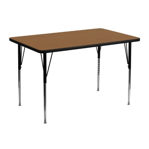 Flash Furniture 30''W x 48''L Rectangular Oak Thermal Laminate Activity Table - Standard Height Adjustable Legs