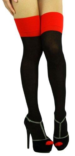 ToBeInStyle Women's Sheer Thigh Hi Stocking W/ Cuban Heel & Backseam - One Size - Black W/ Red Detail