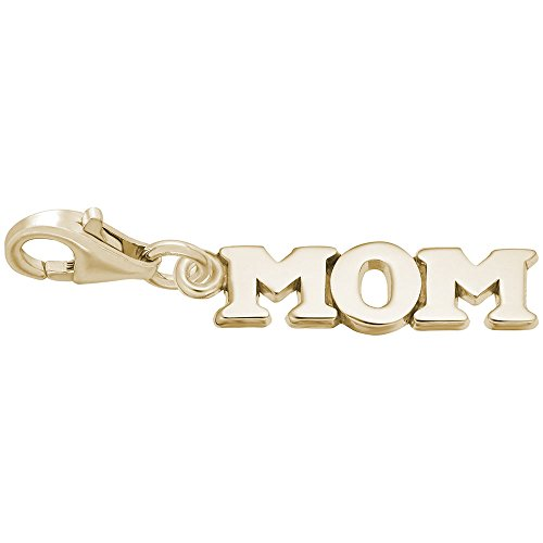 14k Yellow Gold Mom Charm With Lobster Claw Clasp, Charms for Bracelets and - Gold Charm Mom 14k Yellow
