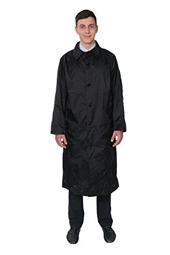 Fit Rite Men's 100% Nylon Raincoat-Zip in Hood-With Travel Pouch XXXL Black by Fit Rite