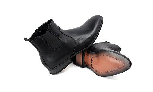 Caballeros Informal Chelsea Inteligente Cremallera Botines Negro Marrón Zapato Tallas Negro