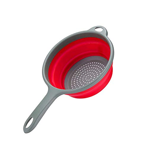 Food Strainers,Foldable Silicone Strainers,Collapsible Colanders with Handles,Kitchen Strainers Colander, 2 quart (Red)