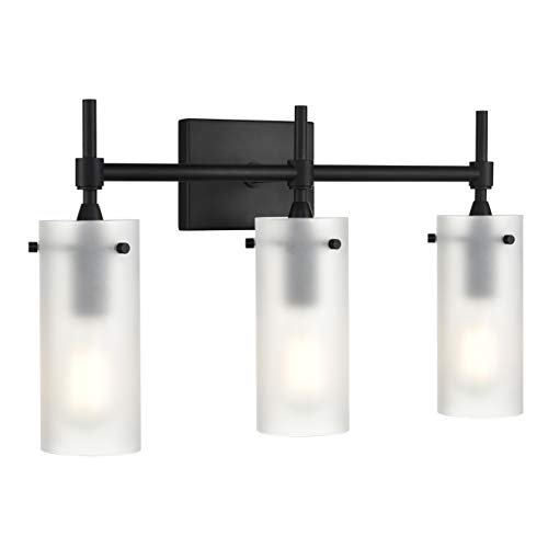 Effimero 3 Light Bathroom Vanity Light | Black Hallway Wall Sconce, Frosted Glass Shades LL-WL33-FRST-5BLK