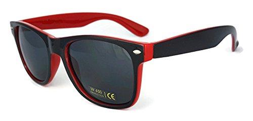 dos tonos de New Wayfarer Lentes Retro Gafas sol de Vintage Classic Unisex UV400 Rojo Espejo xCXqRYqwS