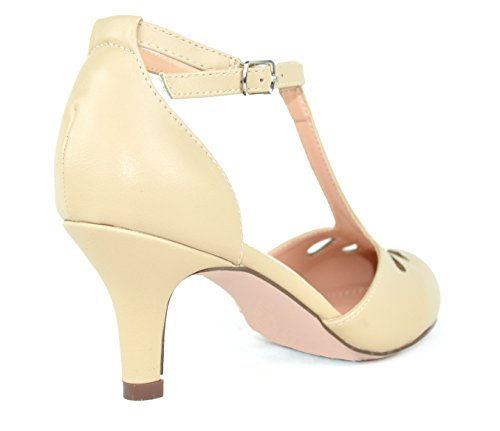 amp; Chase Dress Pumps Cut Teardrop Kimmy Mid strap Pu Low Heel Chloe Nude Out T 36 Women's HHqrBwd