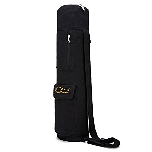Yoga Mat Bag with Expandable Pocket,Best Bags for Yogo Mats, Yoga Strap and Exercise Mat (Black)