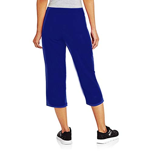 Athletic Works Women's Relaxed Fit Knit Capri Pants with Drawstring & Slant Pockets (XL, Blue Cove)