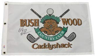 (Chevy Chase Autographed Signed Caddyshack Gopher Logo Bushwood Country Club Golf Pin Flag- PSA Authentication)