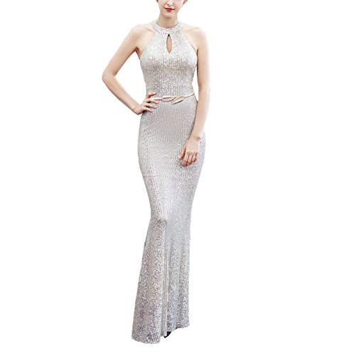 Chowsir Women Elegant Halter Fishtail Slim Cocktail Party Evening Bridesmaid Long Dress (Small, 16229Beige Silver) (Cocktail Evening Long)