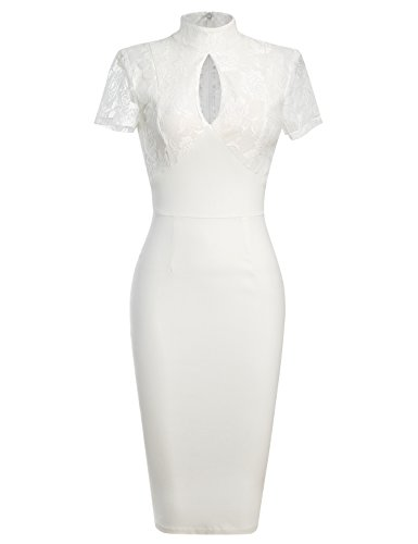 - MUXXN Women's 1940's Vintage Floral Lace Keyhole Bodycon Hot Pencil Dress(S,White)