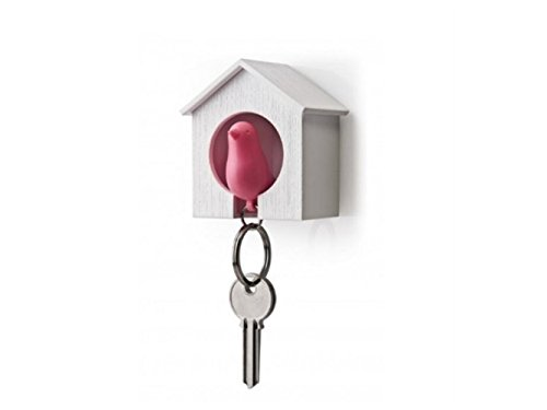 Yuchoi Perfectly Shaped Key Holder Set Wood House Sparrow Bird Key Ring Style Strong Magnetic Pink Bird(Pink)