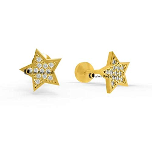 (1Pair 14k Solid Gold Star Studs 14k Solid Gold Studs 8MM Diamond Studs Earrings Diamond Star Studs Tiny Star Earrings Jewelry)