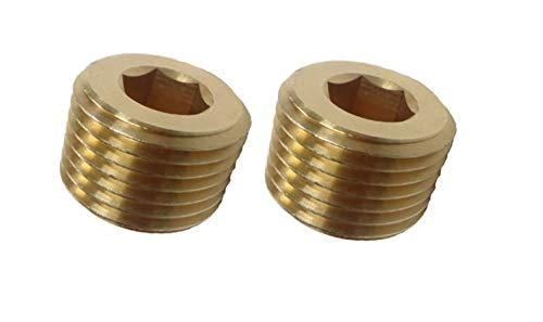 Countersunk Plug - VE-FITS Pipe Plug Countersunk Brass Fittings (2 Pieces) (3/8