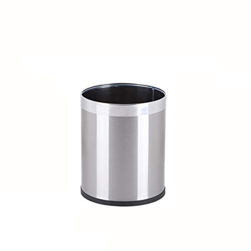 Fashion Creative Non-Covered Stainless Steel Trash Can Home Living Room Kitchen Hotel Pedal Trash Can Thick Stainless Steel Waterproof Rust (Size : 10L) ()