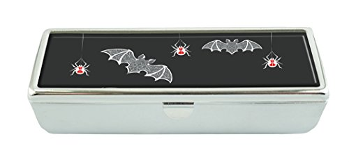 RUNDO Web dangling spiders and bats carved Custom Lipstick Case Organizer Cosmetics Storage Kit with Mirror Jewelry (Dangling Spider Web)