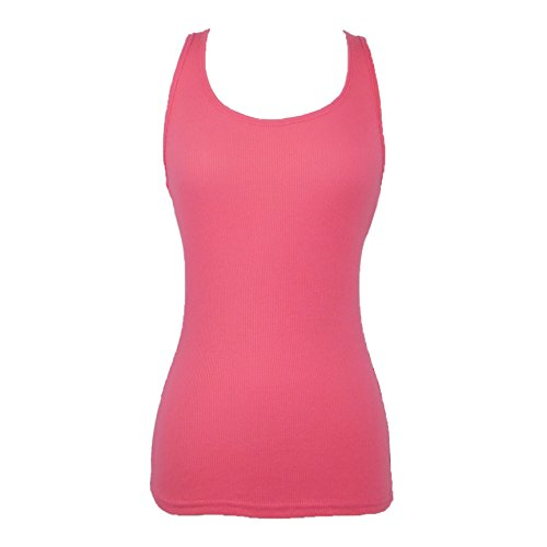 Womens Bright Coral Color Basic Racer Back Tank Top - Camis Basic Pink