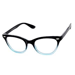 AStyles Vintage Inspired Half Tinted Frame Clear Lens Wayfarer Cat Eye Glasses
