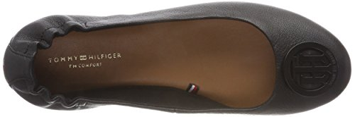 Tommy Hilfiger Damen Flexible Leather Ballerina Geschlossene Ballerinas Schwarz (Black 990)