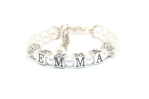 - Personalized Girl Pearl Name Bracelet Baby Shower Gift Christening Baptism First Communtion