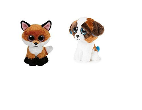 TY Beanie Boos Special Fox & Hound Set: Slick the Fox and Duke the Dog, 6 Size