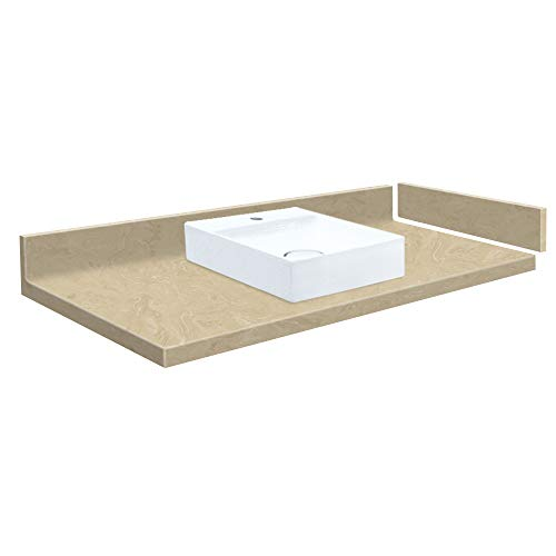Transolid VT34x22-1SV-96-A-W-1 34 in. D Solid Surface Vanity Top with Single Hole and Square Vessel Sink, L x 22.25