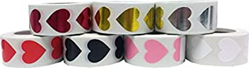Heart Stickers For Valentine's Day Crafting Scrapbooking 7 Different Colors Red Pink White Black Metallic Rose Metallic Silver Metallic Gold 3/4 Inch 3,500 Total Stickers