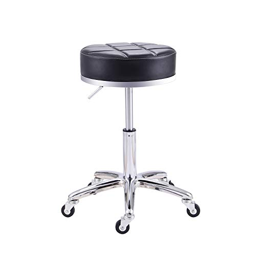 Rfiver Adjustable Rolling Swivel Salon SPA Medical Massage Stool Chair Drafting Stools in Black SC1004-1