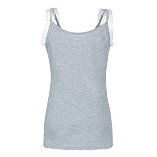 AMOFINY Womens Tops Fashion Rhinestone Lace Insert Fitted Tank Shirt Blouse Camisole Gray ()