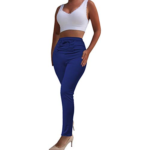 (Botrong Women Tight Bandage Tie High Waist Elastic Trousers Long Pants (Blue,XXL))