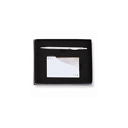 Silver-tone Business Card Case & Pen 2-piece Gift Set