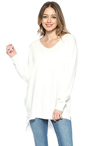 Cotton Oversized Sweater - Urban Look Womens Oversized V-Neck Pullover Sweater (Medium/Large, White)