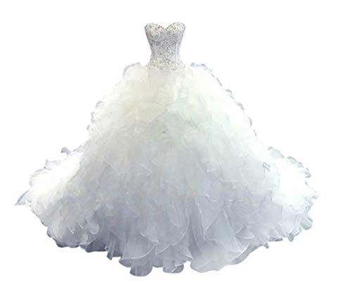 Lovelybride Noble Sweetheart Beaded Organza Wedding Dresses Bridal Gowns (10, White)