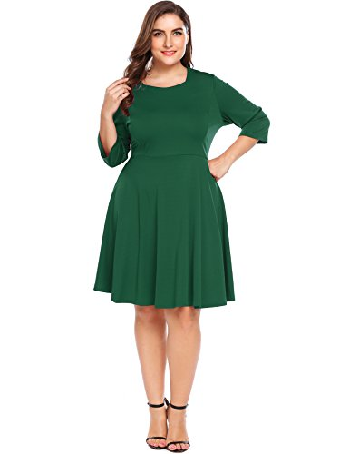 Classic Plus Size Dresses (Plus Size Women Classic Casual Tunic Long Sleeve Fit and Flare Swing Midi Long Cooktail Party Dress)