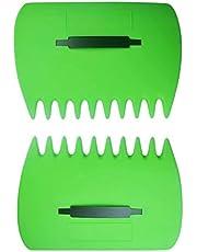 Tuinhark Handharken Grote bladverzamelaar Plastic schep Grasbladverzamelaars Handbladschep Bladplukker Bladeren Tuinreinigingshark Gemakkelijk op te halen voor tuinafval Geweldig gereedschap Set van 2 (Groen)