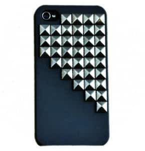 CyberStyle(TM) Fashion Silver Pyramid Punk Spikes and Studs Mobile Phone Back Case for iPhone 4/4S Cover + Free Clear Screen Protector