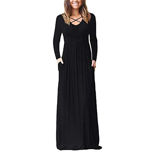Seaintheson Long Dress for Women Elegant, Women's Loose Long Sleeve Plain Maxi Dresses Casual Maxi Dresses with Pockets