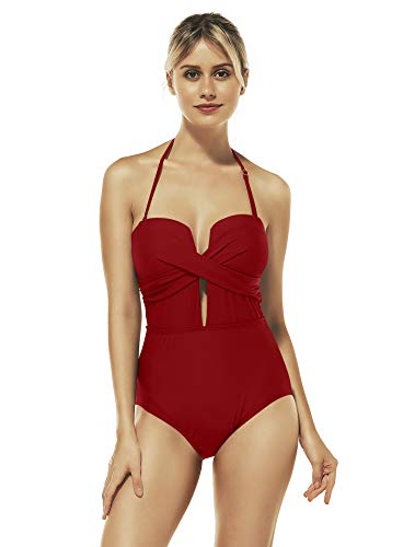 - Reteron Women's Petite Plus Size Cross Plunge High Waisted One Piece Swimsuit Monokini (Dark Red, XXL 16-18)