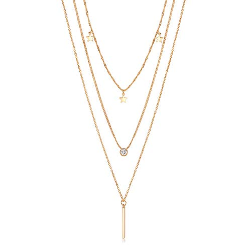 Blinkingstare Gold Layered Necklace for Women - 14k Gold Dainty Star Bar AAAAA Cubic Zirconia Drop Necklaces Idea Gift for Christmas Day