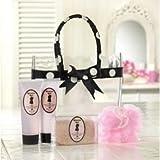 French Style Bath Shower Set in Black & White Polka Dot Gift Bag