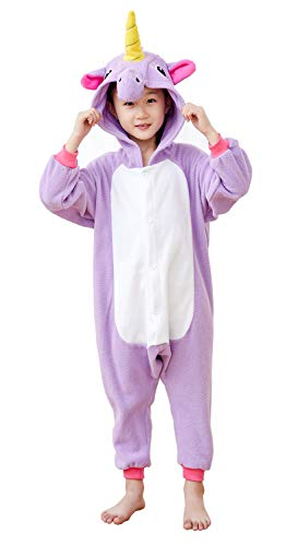 Comfy New Kids Unisex Animal Onesies Unicorn Pajamas Cosplay Outfit Halloween Costume One-Piece Birthday Gifts Purple 4-6 Years ()