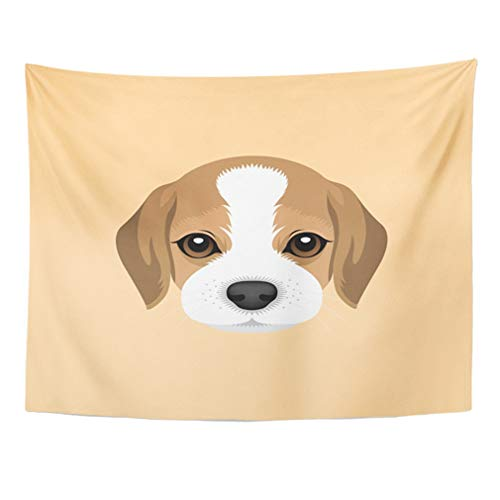 dala 60x80 Inches Dog Portrait of Beagle Puppy Head Animal Beautiful Cute Face Happy Hound Home Decor Wall Hanging for Living Room Bedroom Dorm ()