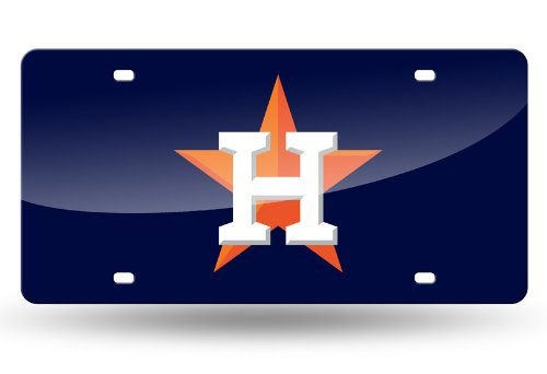 Houston Astros NEW LOGO NAVY Deluxe Laser Cut Mirrored License Plate Tag Baseball