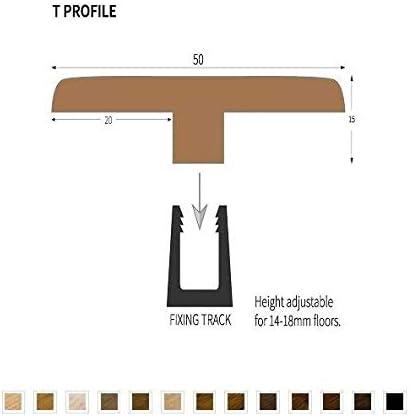 Barre de seuil en T en bois massif 0,9 m en ch/êne brut 900 mm Couleur assortie au Kahrs Junckers Woodpecker V4